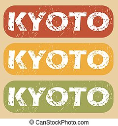Vintage Kyoto stamp set - Set of rubber stamps with city...