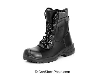 Heavy duty boots isolated on the white background