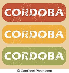 Vintage Cordoba stamp set - Set of rubber stamps with city...