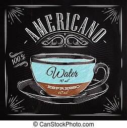 Poster americano chalk - Poster coffee americano in vintage...