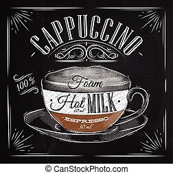 Poster cappuccino chalk - Poster coffee cappuccino in...