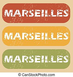 Vintage Marseilles stamp set - Set of rubber stamps with...