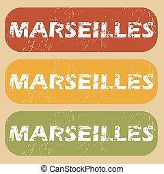 Vintage Marseilles stamp set - Set of rubber stamps with...