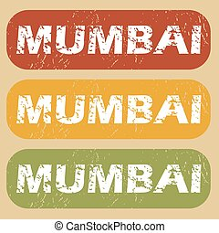 Vintage Mumbai stamp set - Set of rubber stamps with city...
