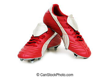 fútbol, zapatos, aislado, blanco, Plano de fondo