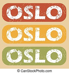 Vintage Oslo stamp set - Set of rubber stamps with city name...