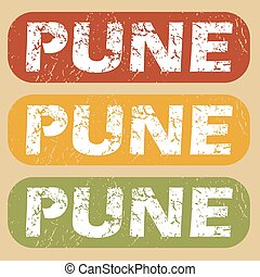 Vintage Pune stamp set - Set of rubber stamps with city name...