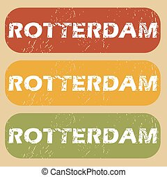 Vintage Rotterdam stamp set - Set of rubber stamps with city...