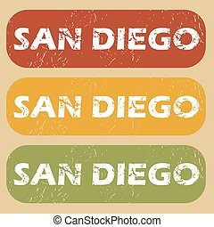 Vintage San Diego stamp set - Set of rubber stamps with city...