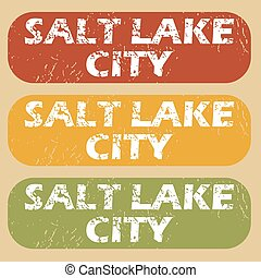 Vintage Salt Lake City stamps - Set of rubber stamps with...