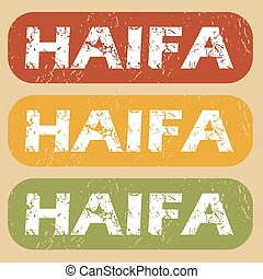Vintage Haifa stamp set - Set of rubber stamps with city...