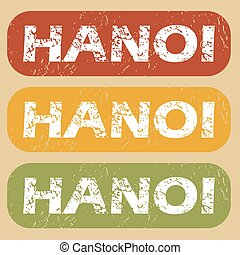 Vintage Hanoi stamp set - Set of rubber stamps with city...