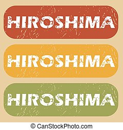 Vintage Hiroshima stamp set - Set of rubber stamps with city...