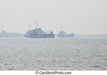 cargo ship floating on the sea