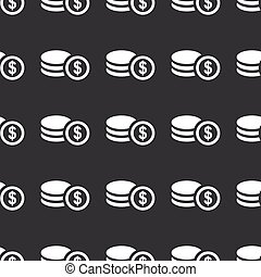 Straight black dollar rouleau pattern - White image of...