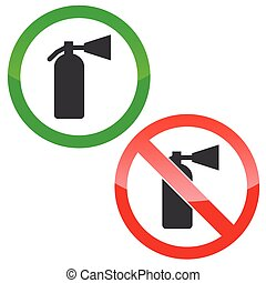 Fire extinguisher permission signs set - Allowed and...
