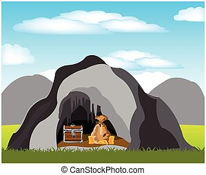 Cave with treasure - The Bonanza hidden in cave in...