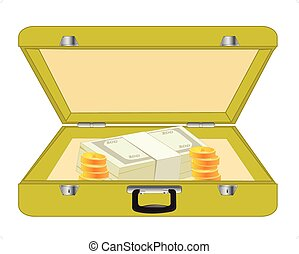 Valise with money - Open valise with money on white...