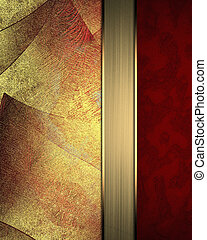 Shabby red background with gold attrition. The template for...