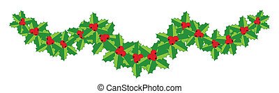 Christmas holly garland for your design
