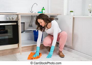 mulher, limpar, chão,