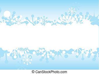 Blue Christmas and New Years frame with snowflakes, stars...