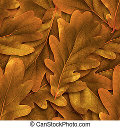 Seamless oak abscissed leafs background.