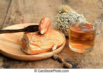sausage bread on a wooden vintage