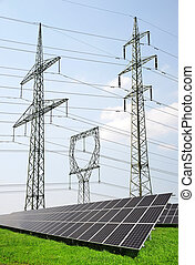 Solar panels with electricity pylons Green energy concept
