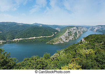 Danube gorges - Danube in Djerdap National park, Serbia....