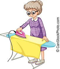 Ironing - Old woman ironing clothes on ironing board