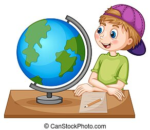 Geography - Boy looking at the globe