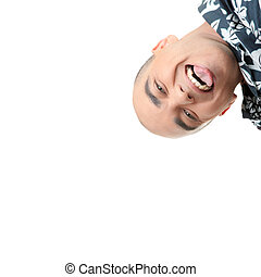 Man with happy facial expression isolated