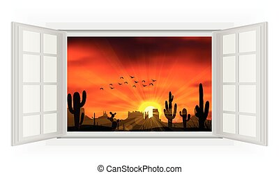 Open window of cactus tree - Illustration of Open window of...
