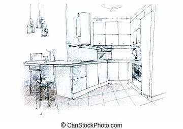 hand sketching of a kitchen interior - designer's monochrome...