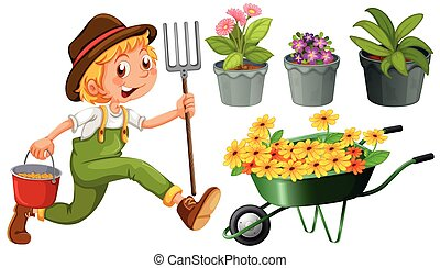 Gardening - Boy with gardening tools and plants on white...