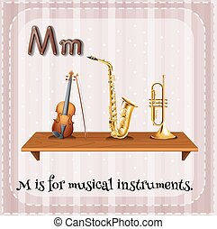 Musical instrument - Flashcard letter M is for musical...