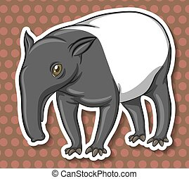 Anteater - ant-eater on brown polkadot background
