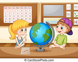 Geography - Boy and girl in geography class