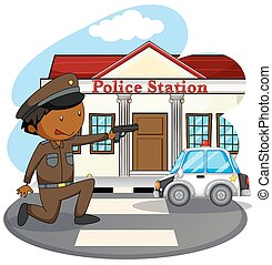 Police station - Policeman in uniform and police station