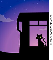 S ilhouette - Silhouette of a yellow eyes cat sitting in a...