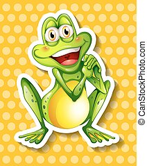 Green frog - Happy green frog on yellow background
