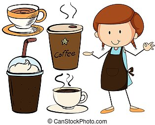 Coffee - Waitress and different kind of beverage