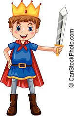 Role play - Boy in prince costume holding a sword