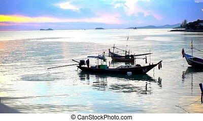 Thai fisherman prepares to sail for Fish in the sea at...