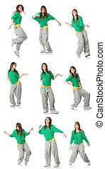Modern dancer poses - Set of modern dancer poses, isolated...