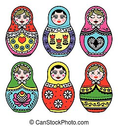 Matryoshka, Russian doll icons - Russian folk art - nesting...
