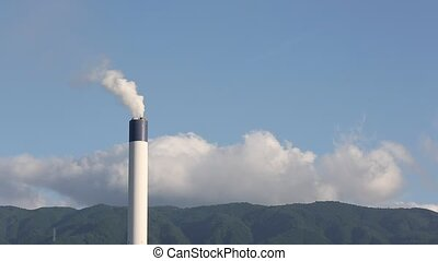 Industrial smoke stack - Industrial refinery plant with...