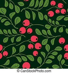 seamless green pattern with berries