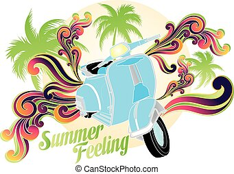 Summer feeling - Retro illustration (isolated on white) of...